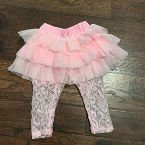 Mud Pie Baby pink skirt and lace leggings